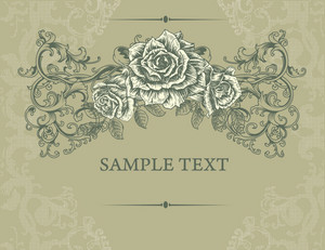 Vintage Floral Background With Roses Vector Illustration