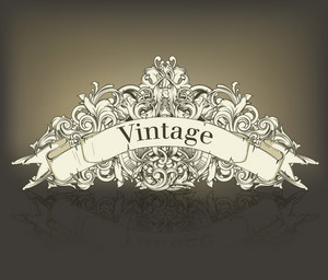 Vintage Floral With Scroll Vector Illustration