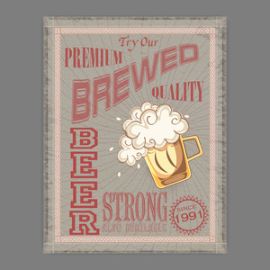 Vintage flyer or template presentation of Premium Strong Beer for beer bar pub or night parties.