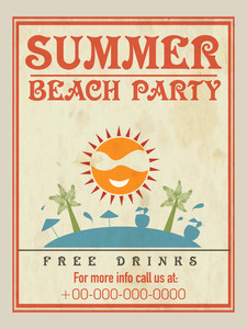 Vintage flyer template or banner design for Summer Beach Party.