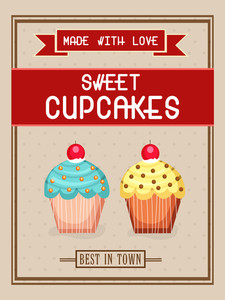 Vintage flyer template or banner design for sweet cupcakes.