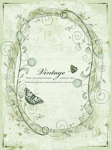 Vintage Frame With Butterflies Vector Illustration