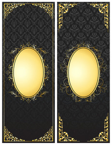 Vintage Gold Banners Set Vector Illustration