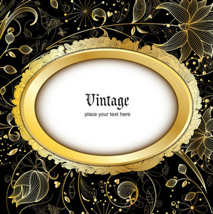 Vintage Gold Floral Background Vector Illustration
