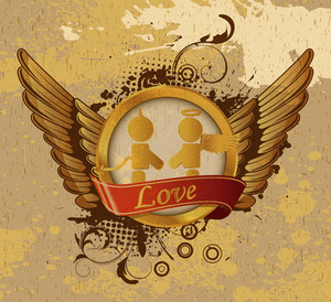 Vintage Gold Valentines Emblem Vector Illustration