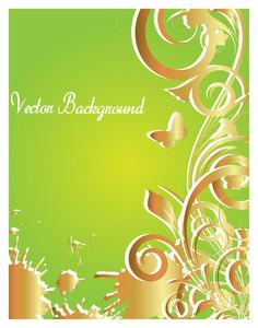 Vintage Golden Floral Banner