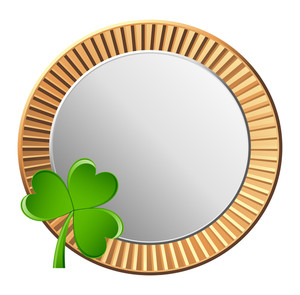 Vintage Golden Silver Coin With Shamrock Vector