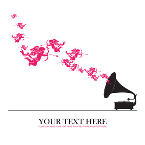 Vintage Gramophone With Cupids. Abstract Vector Illustration.