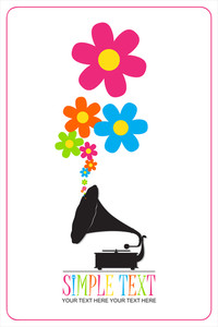 Vintage Gramophone With Flowers. Abstract Vector Illustration.