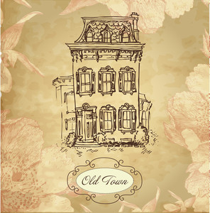 Vintage Hand Drawn House Card With Frame And Beautiful Flower Background