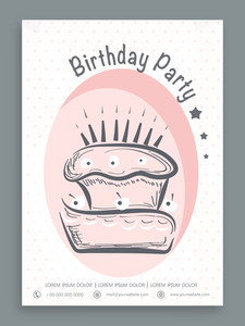 Vintage invitation card decorated by cake for Birthday Party celebration.Birthday party celebration flyer or banner.