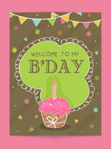 Vintage invitation card design decorated with cup cake and colorful bunting for Birthday Party celebration.