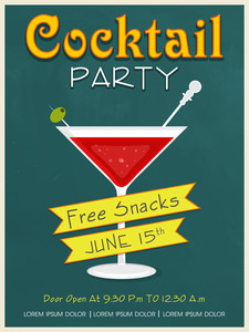Vintage invitation card design for Cocktail Party with free snacks offer.