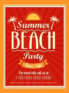 Vintage invitation card design for Summer Beach Party.