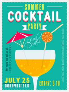 Vintage invitation card design for Summer Cocktail Party with date and time details.