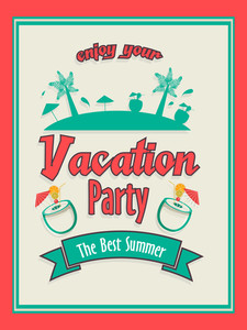 Vintage invitation card design for Summer Vacation Party.