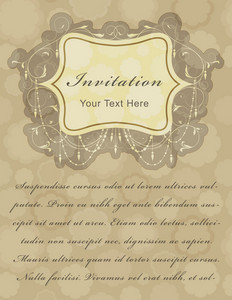 Vintage Invitation Card Vector Illustration
