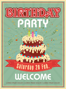 Vintage invitation or welcome card design decorated with big cake for Birthday Party celebration.