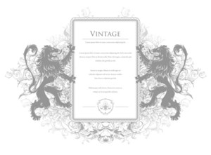 Vintage Invitation With Lions Vector Illustration