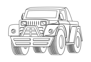 Vintage Jeep Drawing Vector