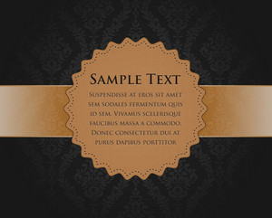 Vintage Label With Damask Background Vector Illustration