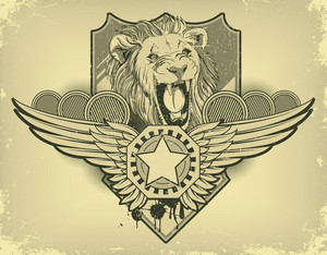 Vintage Label With Lion Head Vector Illustration