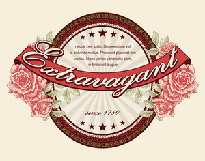 Vintage Label With Roses Vector Illustration