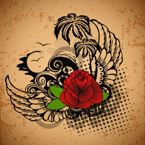 Vintage Love Background With Rose