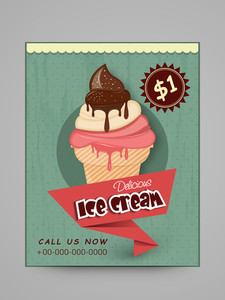 Vintage menu card design for delicious Ice Cream with price details.