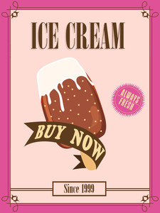 Vintage menu card design for Ice Cream parlour.