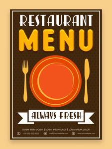 Vintage menu card design for Restaurant in brown color.