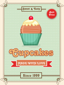 Vintage menu card design for Sweet and Tasty Cupcakes.