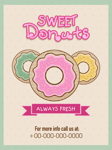 Vintage menu card design for sweet donuts shop or restaurant.Flyer or menu card for sweet donuts shop.