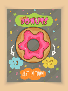 Vintage menu card design of donuts with price for Sweet House.