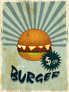 Vintage Menu Card Design With Burger And Price Tag On Rays Background