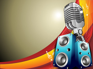 Vintage Microphone - Vector Illustration With Wave And Music Notes With Space For Text.