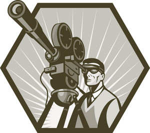 Vintage Movie Television Film Camera Director