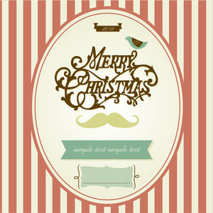 Vintage Mustache Christmas Template