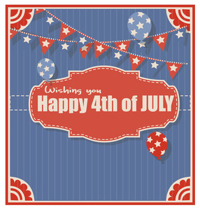Vintage Old 4th Of July Vector Greeting Background