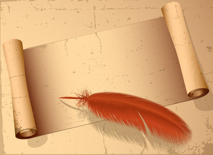 Vintage Old Paper Scroll And Pen. Vector.