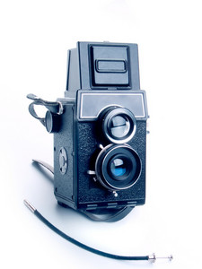 Vintage Photo Camera On White