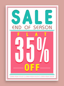 Vintage poster banner or flyer design for End of Season Sale with flat 35% discount offer.