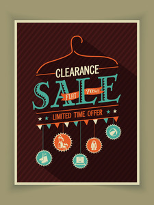 Vintage poster banner or flyer design of Clearance Sale for limited time offer.