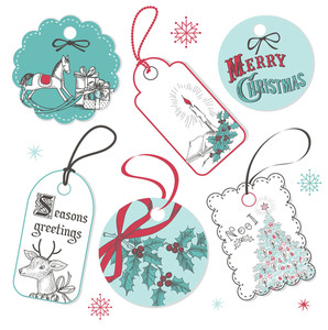 Vintage Red And Blue Christmas Tags