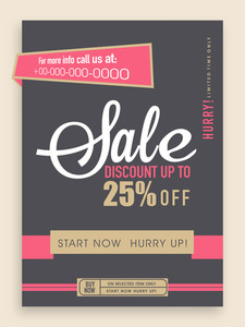 Vintage sale flyer banner or template design with best discount offer.