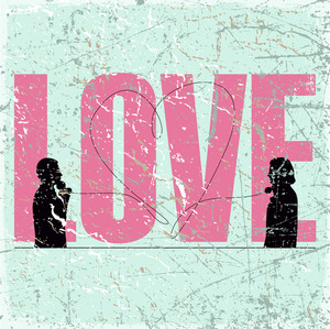 Vintage Scratched Background With Abstract Romantic Ilustration Of Two People Speaking By Phone.
