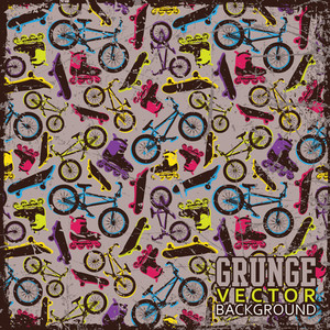 Vintage Scratched Background With  Bicycles