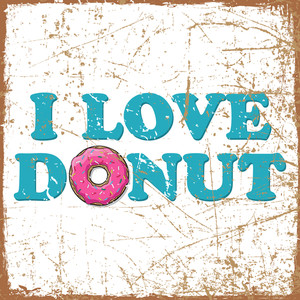Vintage Scratched Background With Cartoon Donut