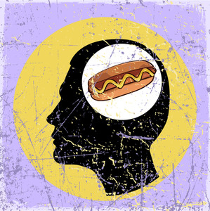Vintage Scratched Background With Human Head And Hot Dog.