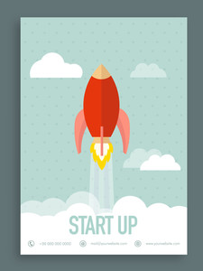 Vintage start up flyer brochure or template design
